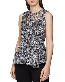 REISS - Harley Burnout Ditsy-Print Blouse