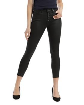 Mavi - Tess Faux-Leather Cropped Skinny Jeans inBlack Jeather