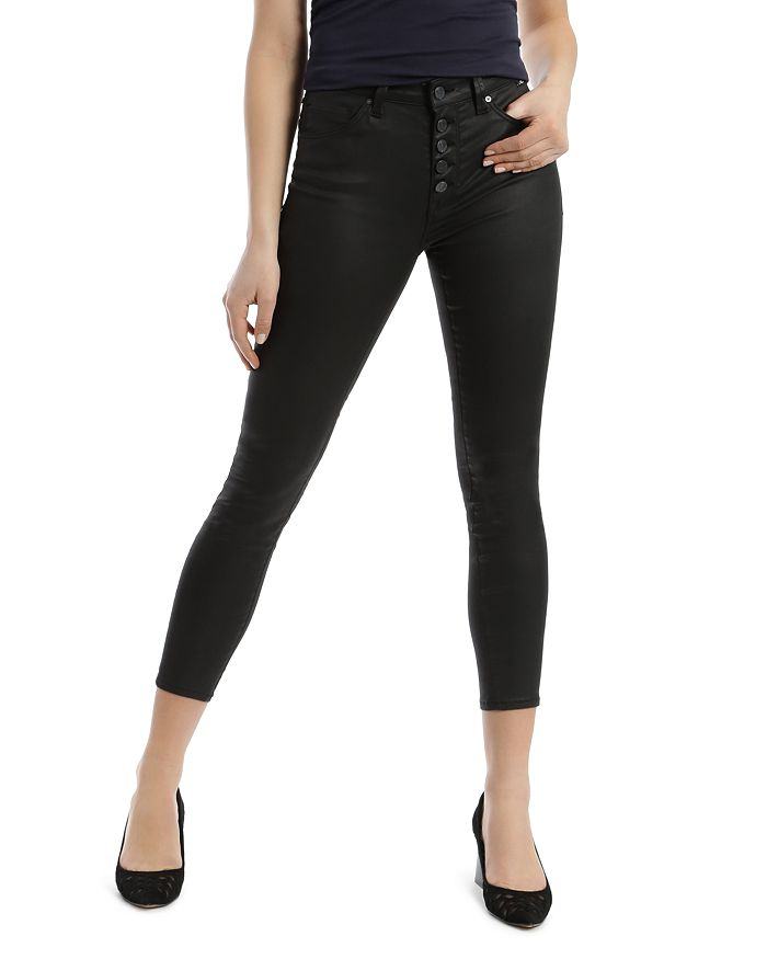 Mavi TESS FAUX-LEATHER CROPPED SKINNY JEANS IN BLACK JEATHER