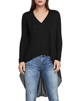BCBGMAXAZRIA - High-Low Mixed Media Top