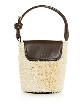Behno - Helen Raffia & Leather Mini Bucket Bucket Bag