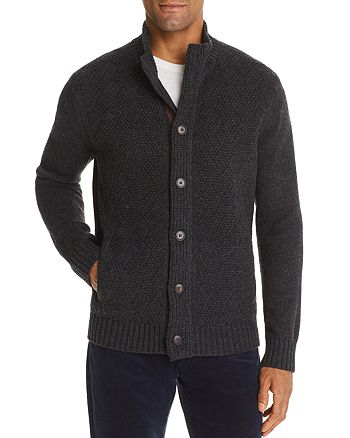 The Men's Store at Bloomingdale's - Suede-Trimmed Basketweave Cardigan - 100% Exclusive
