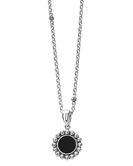 "LAGOS - Sterling Silver Maya Black Onyx Circle Pendant Necklace, 18"""