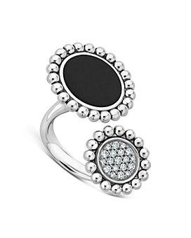 LAGOS - Sterling Silver Maya Diamond & Onyx Circle Ring