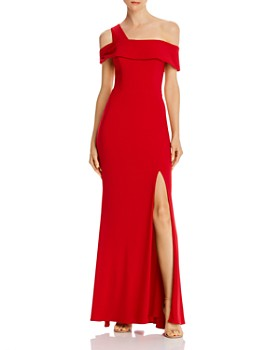 AQUA - Off-the-Shoulder Single-Strap Gown - 100% Exclusive