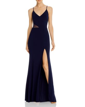 V Neck Side Illusion Gown   100% Exclusive by Aqua