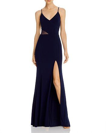 AQUA - V-Neck Side Illusion Gown - 100% Exclusive