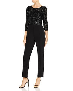 Adrianna Papell - Embellished Texture-Blocked Jumpsuit