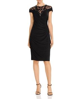 Adrianna Papell - Embellished Lace Yoke Dress