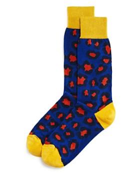 The Men's Store at Bloomingdale's - Color-Block Leopard Socks - 100% Exclusive