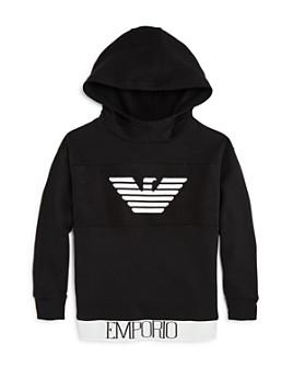 Armani - Boys' Contrast-Hem Logo Hoodie - Little Kid, Big Kid