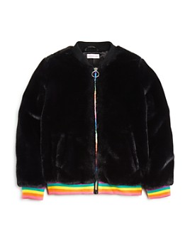 Design History - Girls' Rainbow-Stripe Faux-Fur Bomber Jacket - Little Kid