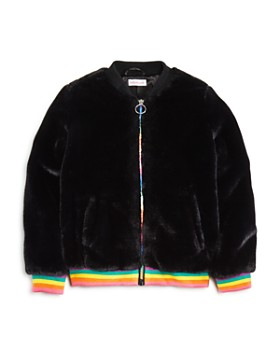 Design History - Girls' Rainbow-Stripe Faux-Fur Bomber Jacket - Big Kid