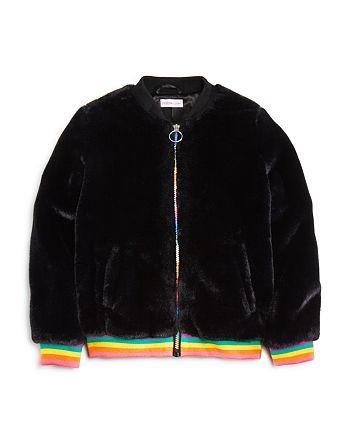 Design History - Girls' Rainbow-Stripe Faux-Fur Bomber Jacket - Big Kid