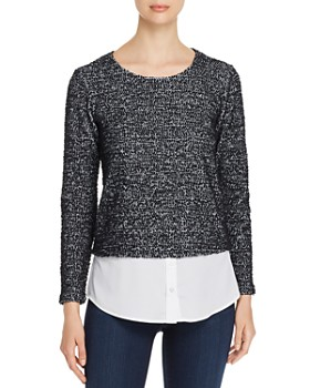 Calvin Klein - Layered-Look Textured Sweater