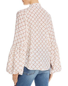 7 For All Mankind - Printed Tie-Neck Blouse