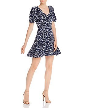 AQUA - Floral Puffed-Sleeve Dress - 100% Exclusive