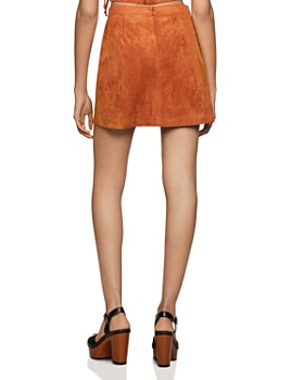 BCBGENERATION - Lace-Up Faux Suede Skirt