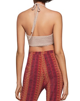 BCBGENERATION - Fringe-Trim Knit Halter Top