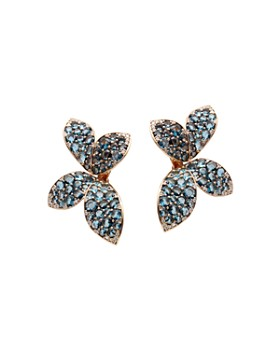 Pasquale Bruni - 18K Rose Gold Giardini Segreti Flower Drop Earrings with Diamonds & London Blue Topaz