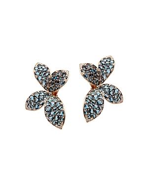 Pasquale Bruni 18K Rose Gold Giardini Segreti Flower Drop Earrings with Diamonds & London Blue Topaz