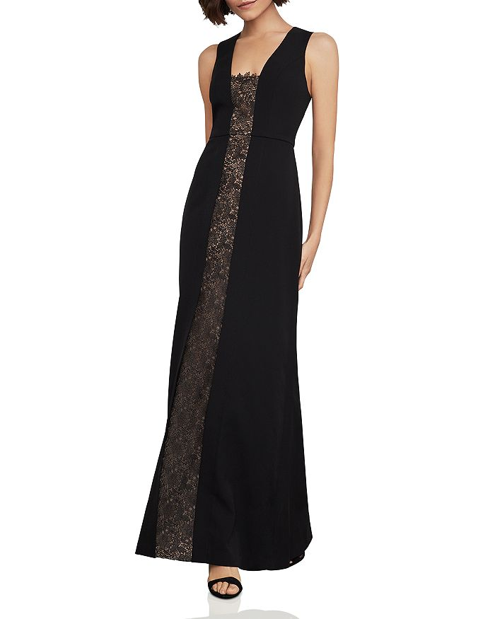 BCBGMAXAZRIA - Lace-Inset Fit-and-Flare Gown