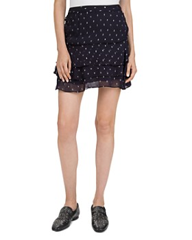 The Kooples - Tiered Metallic-Dot Mini Skirt