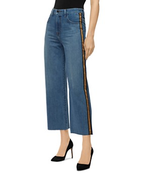 J Brand - Joan High Rise Cropped Track-Stripe Jeans in Quintessential