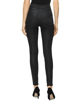 J Brand - Natasha Button-Fly Coated Skinny Jeans in Fearful