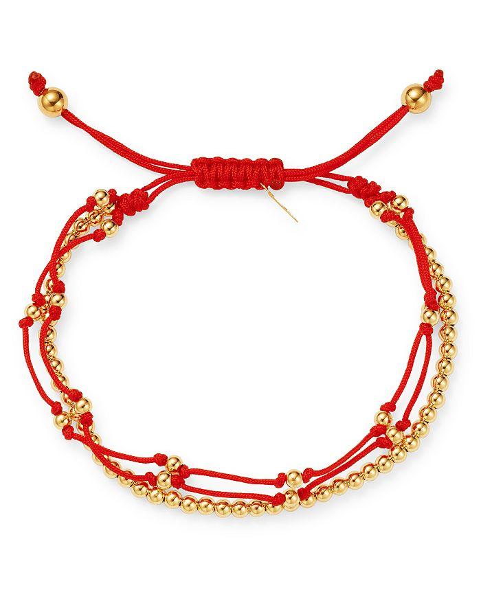 886995086763d Nylon & 14K Yellow Gold Trio Fortune Cord Bracelet