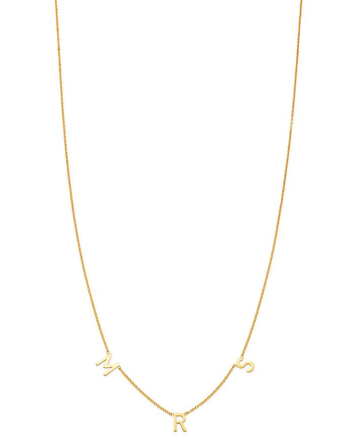 """Zoe Lev - 14K Yellow Gold MRS Charm Necklace, 18"""""""
