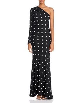Rebecca Vallance - Penelope One-Shoulder Polka Dot Gown