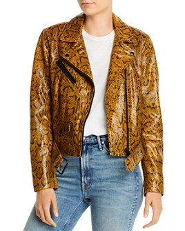 Notes du Nord - Mercy Snakeskin-Embossed Leather Jacket