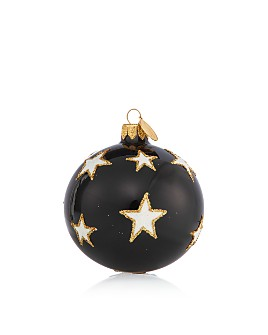 Landmark Creations - Black & White Star Glass Ball Ornament - 100% Exclusive