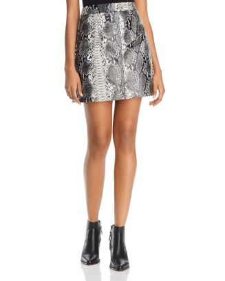 Elias Faux Leather Snakeskin Pattern Skirt by French Connection