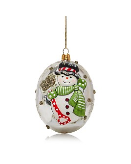 Vaillancourt - Silver Snowman Glass Ball Ornament