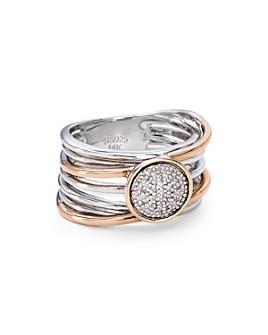 Bloomingdale's - Pavé Diamond Layered Ring in Sterling Silver & 14K Rose Gold-Plated Sterling Silver, 0.08 ct. t.w. - 100% Exclusive