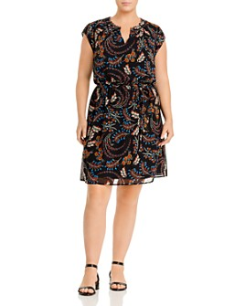 Daniel Rainn Plus - Floral-Print Cap-Sleeve Dress