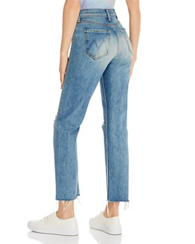 MOTHER -  The Tomcat Ankle Fray Straight-Leg Jeans The Last Supper Destroyed