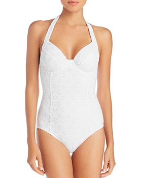 kate spade new york - Eyelet Halter Underwire One Piece Swimsuit