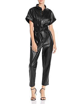 Bardot - Bardot Belted Faux Leather Boilersuit