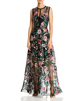 BRONX AND BANCO - Melia Floral-Embroidered Illusion Gown