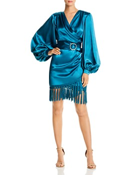 BRONX AND BANCO - Monica Satin Fringed Mini Dress