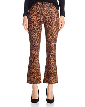 7 For All Mankind - High-Waisted Kick-Flare Jeans in Coated Black/Penny Leopard