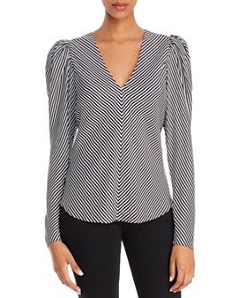 FRAME - Puff-Sleeve Striped Silk Top