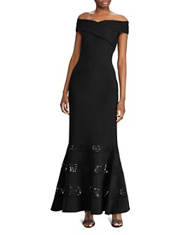 Ralph Lauren - Lace-Panel Off-the-Shoulder Gown