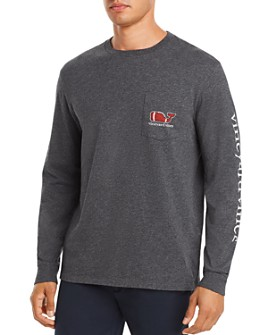 Vineyard Vines - Long-Sleeve Football Whale Logo Graphic Pocket Tee