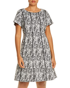 Adrianna Papell Plus - Piped Watercolor-Print Fit-and-Flare Dress