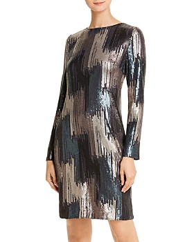 Donna Karan - Sequined Long-Sleeve Dress