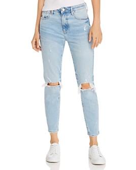 AQUA - High-Rise Distressed Boyfriend Jeans in Lt Wash - 100% Exclusive